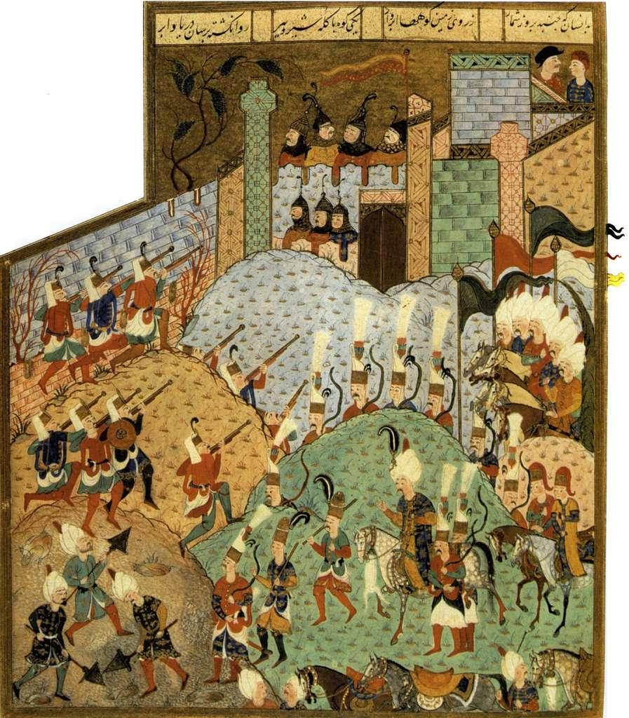 Miniature représentant le siège de Rhodes par Soliman le Magnifique en 1522, dans le Livre des Rois par Arifi, XVIe siècle. © Open Edition Books.