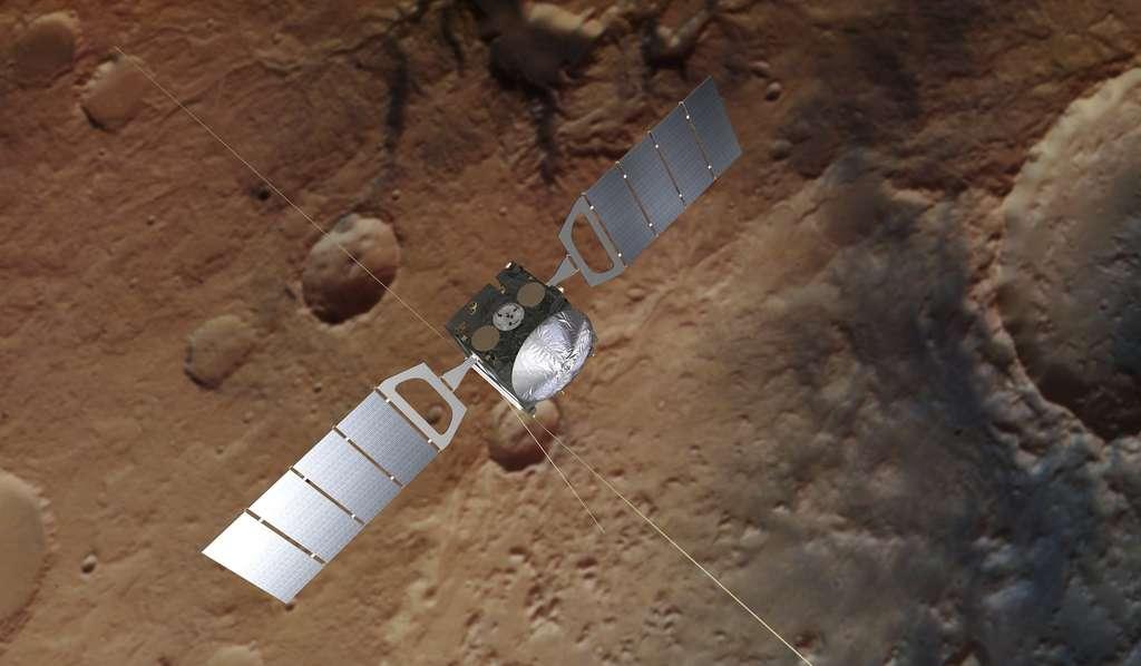 Illustration de la sonde Mars Express, en orbite autour de la Planète rouge depuis 2003. © ESA, ATG medialab, DLR/FU Berlin, CC by-sa 3.0 IGO