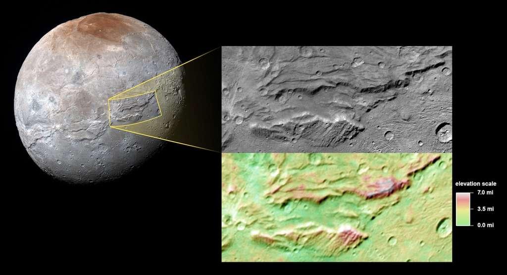 Détail de Serinty Chasma, longue faille de 1.800 km, quatre fois plus grande que notre Grand Canyon. L'image du haut dans l'encart couvre une portion de 286 sur 175 km. La résolution est de 394 m par pixel. L'image a été prise le 14 juillet 2015 à 78.700 kilomètres de la surface de Charon, 40 minutes avant que New Horizons ne soit au plus près de Pluton, à 12.500 km. En dessous, les couleurs indiquent les différentes élévations en miles. © Nasa, JHUAPL, SwRI