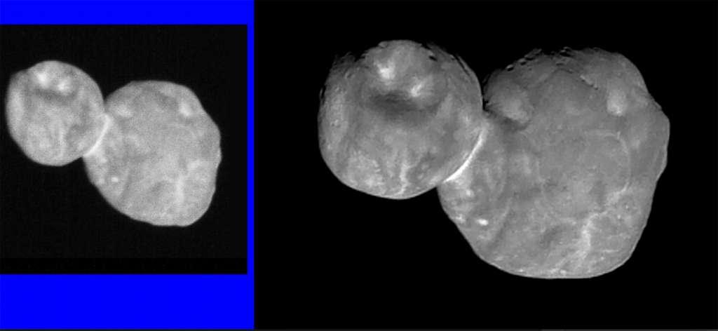 Ultima Thulé, avant (image de gauche) et après traitement de l'image (à droite). © Nasa, SwRI, JHUAPL