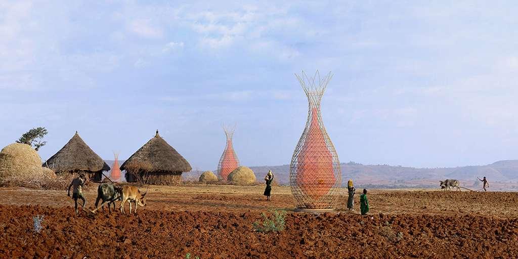 Tour Warka Water ; design : Arturo Vittori et Andreas Vogler ; septembre 2012. © Fabric Architecture, CC by-nc 2.0