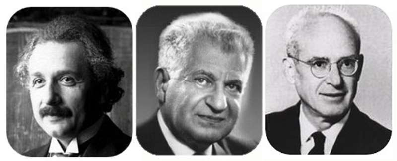De gauche à droite, les auteurs du fameux paradoxe EPR, Albert Einstein, Boris Podolsky et Nathan Rosen. L'article qu'ils ont publié ensemble en 1935 a révélé le phénomène de l'intrication quantique. © DP