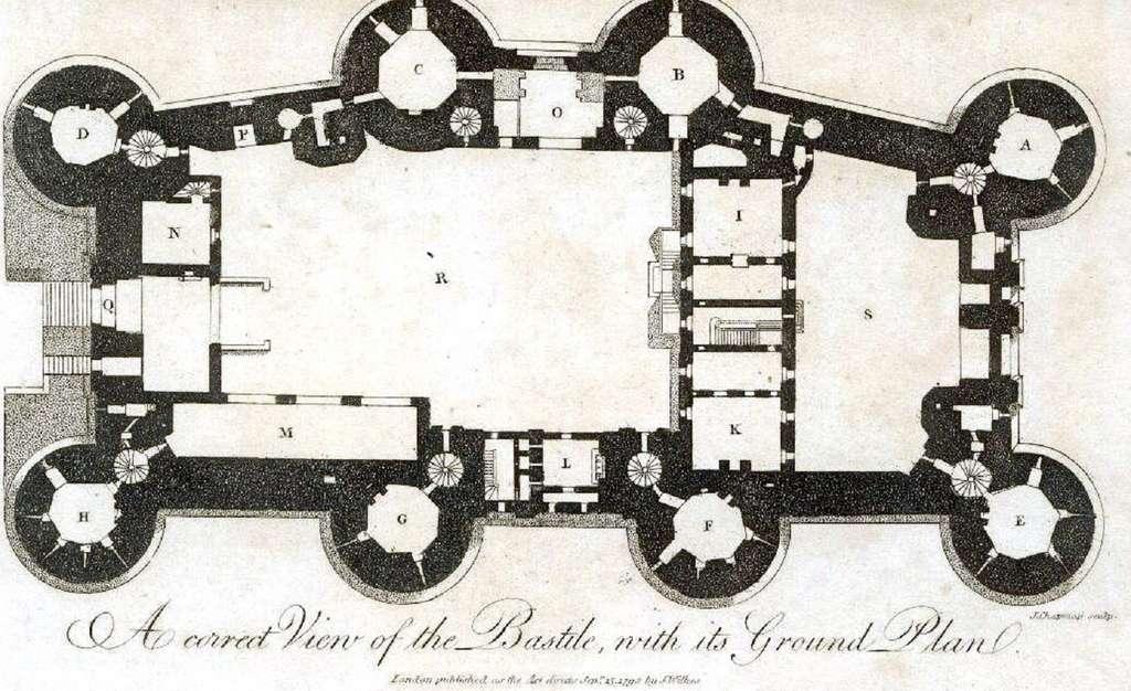 Plan de la Bastille, gravure de J. Chapman, publiée à Londres vers 1792. © Wikimedia Commons, domaine public.