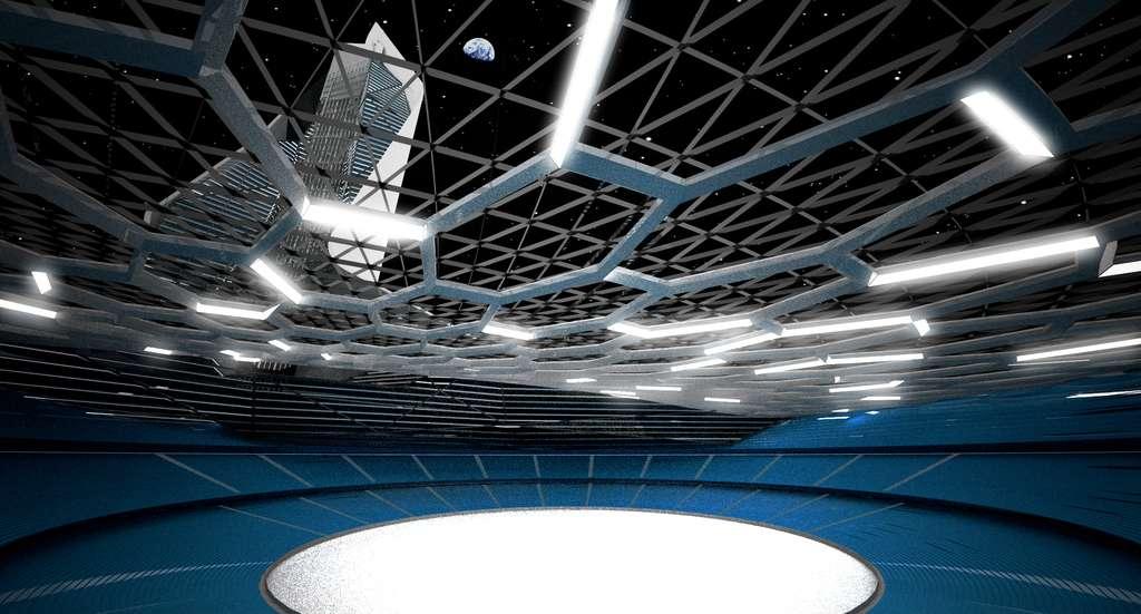 Un beau stade de 100.000 places dans lequel des afficheurs lumineux installés dans le sol servent à tracer toutes les lignes nécessaires à une multitude de sports. Le plafond, transparent, est fortement renforcé : de l'autre côté, c'est le vide... © Brian Harms et Keith Bradley