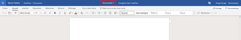 L'interface de Word Online est presque identique à celle de Word classique. © Microsoft