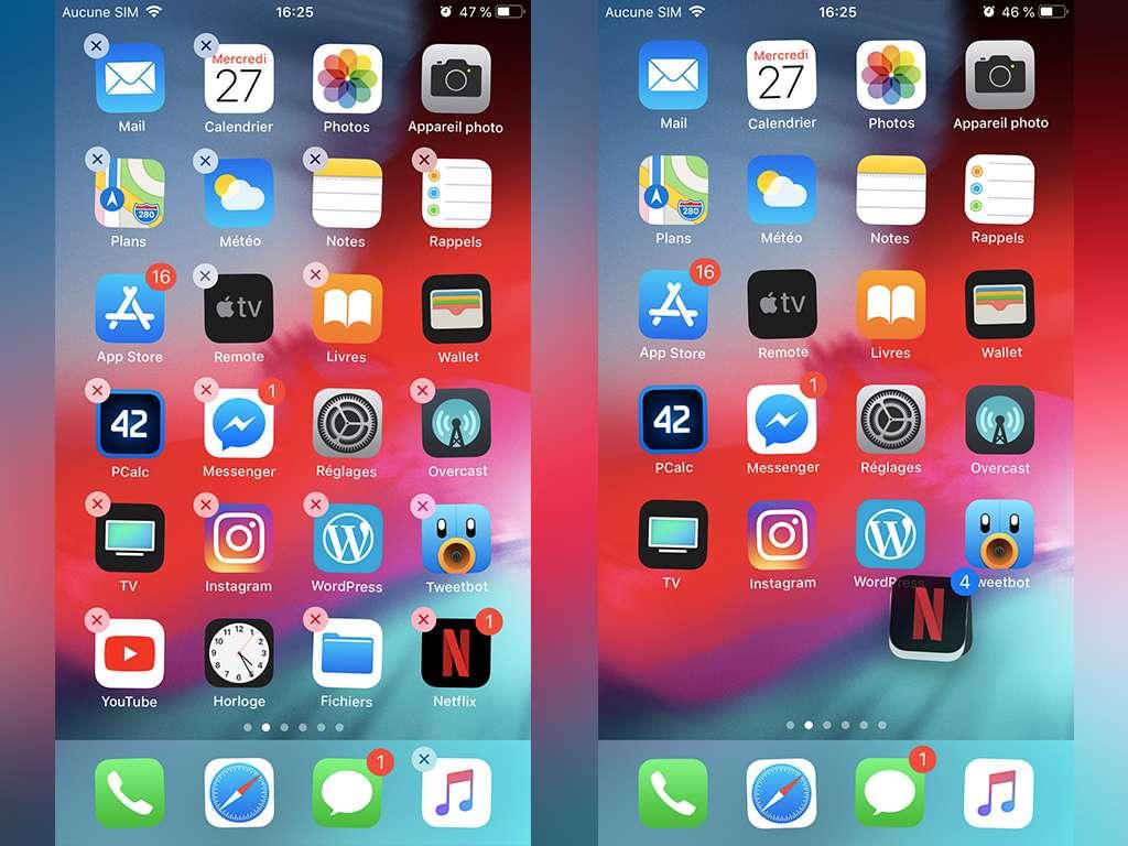 L'écran d'accueil iOS permet de sélectionner plusieurs apps simultanément.
