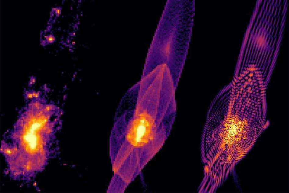 Des images extraites de simulations de la formation de galaxies dans des scénarios de matière noire froide classique, chaude et « floue » (de gauche à droite). La structure des filaments où se condense la matière des galaxies n'est pas la même et on voit clairement à droite les effets d'interférence quantique qui, via les inégalités de Heisenberg, gomment la formation des petites galaxies contenant de la matière noire ainsi que le pic central de cette matière dans une galaxie. © P. Mocz et al., Phys. Rev. Lett. (2019)