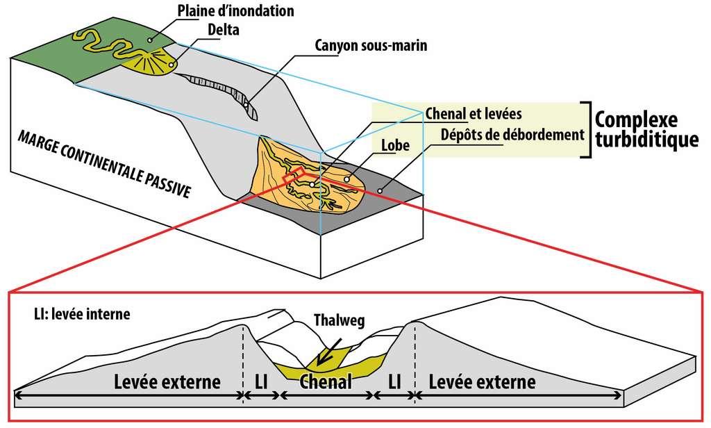 Schéma montrant l'architecture d'une marge continentale passive incisée par un canyon sous-marin et un complexe turbiditique au niveau du glacis continental. © Emmanuel Roquette, Wikimedia Commons