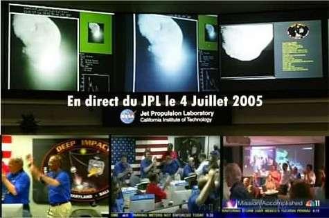 Explosions de joie au Jet Propulsion Laboratory à Pasadena en Californie (crédit : NASA-TV/FS) Montage Futura-Sciences.com
