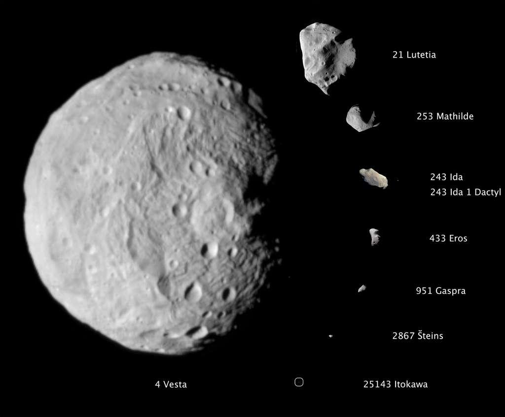 Les astéroïdes approchés par une sonde, à la même échelle. © Nasa/JPL-Caltech/Ucla/MPS/DLR/IDA