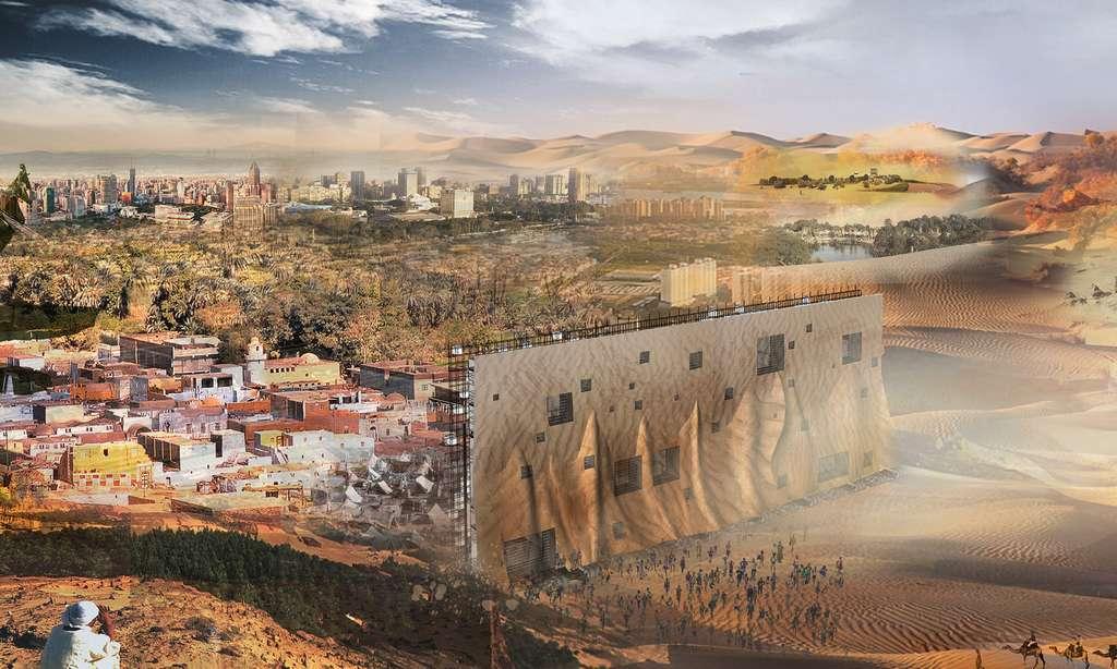 Ce barrage protège la ville contre le sable et permet de loger les habitants des bidonvilles. © Jiangchen Hu, Yining Bei, Xiayu Zhao, Mingwen Zhang, eVolo