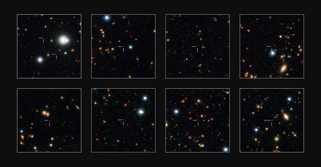 Quelques-unes des galaxies massives nouvellement découvertes figurent en gros plan sur ces échantillons du champ d'observation UtraVista. © Eso, UltraVista team, TERAPIX, CNRS, INSU, CASU