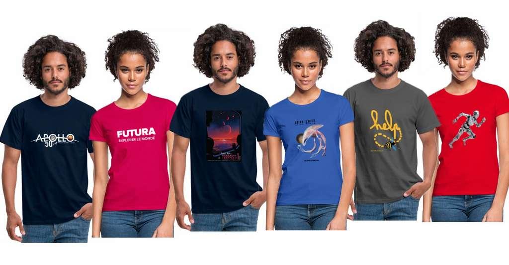 En version homme et femme, les T-shirts de la boutique Futura misent sur la couleur. © Futura