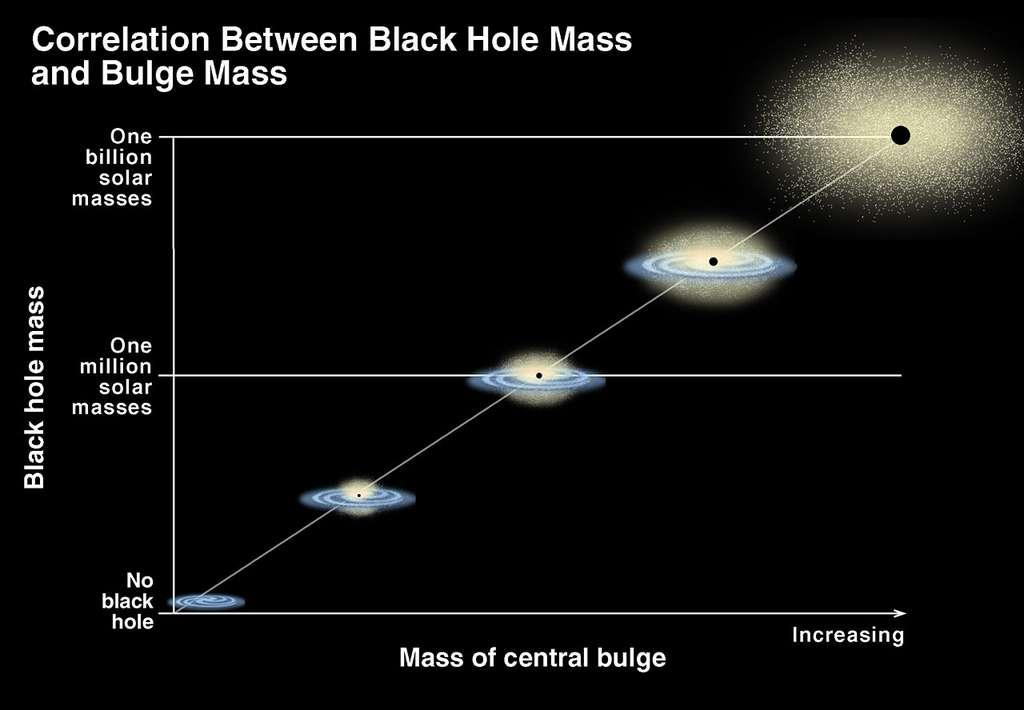 Une illustration montrant la relation entre la masse des trous noirs supermassifs et la masse des bulbes (bulge, en anglais) galactiques. © K. Cordes, S. Brown