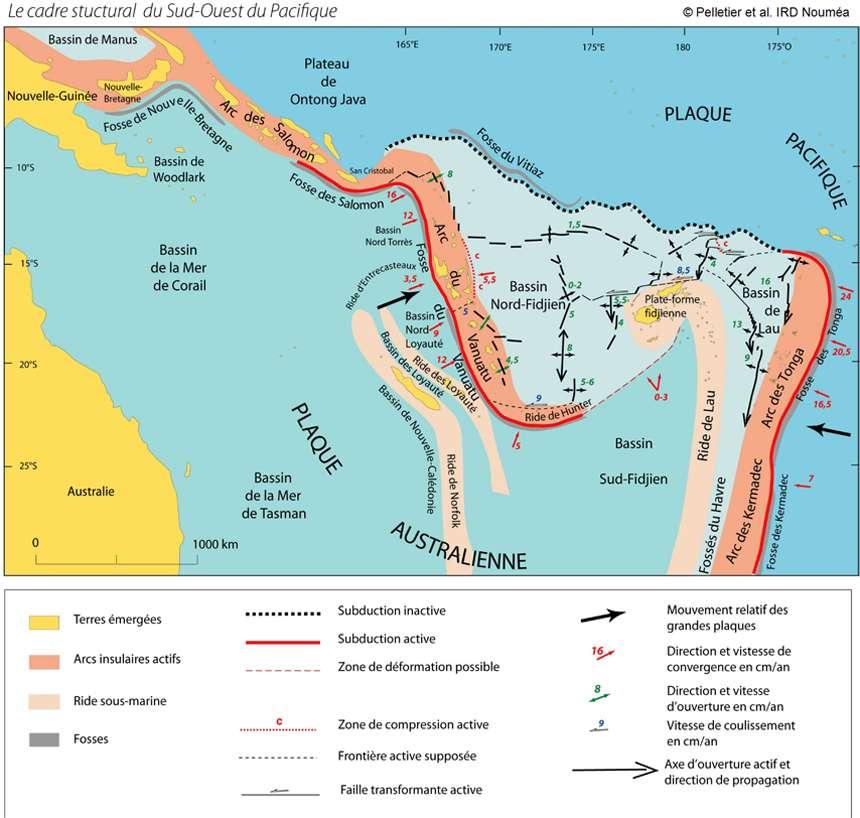 La configuration géologique complexe des plaques tectoniques au nord-est de l'Australie, le long des îles Salomon et du Vanuatu, non loin de la Nouvelle-Calédonie. © IRD