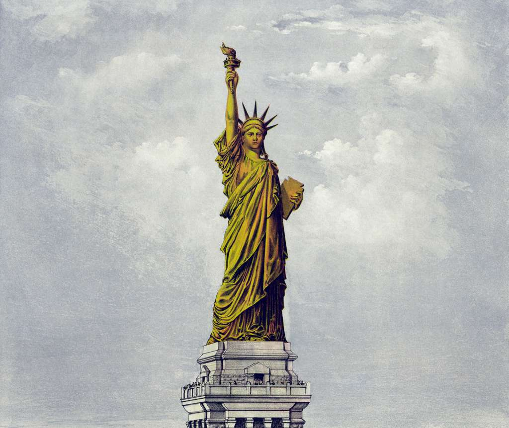 La statue de la Liberté à New York, dessinée un an avant sa construction. © Currier and Ives, Wikimedia Commons, DP
