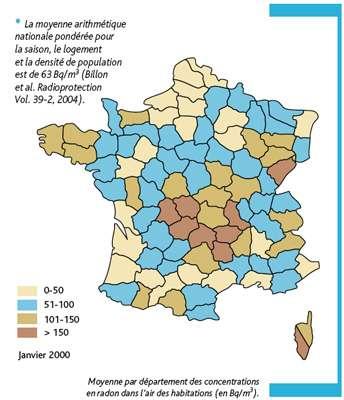 Carte de France du radon dans les habitations ©IRSN