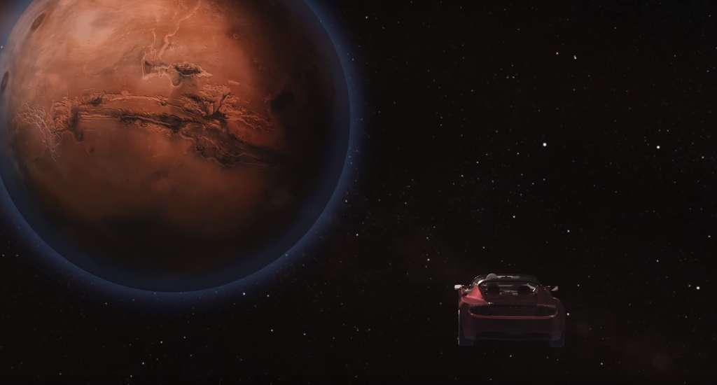 Illustration du roadster Tesla lancé par la puissante Falcon Heavy et en route vers Mars. © SpaceX
