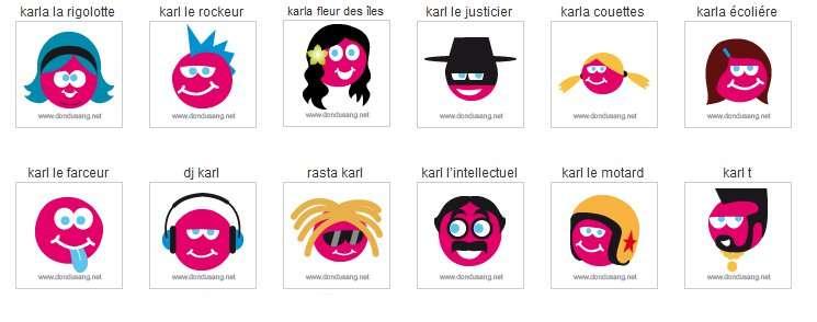 Choisissez votre avatar pour Facebook ! Bien d'autres sont à télécharger sur le site de l'EFS. © EFS