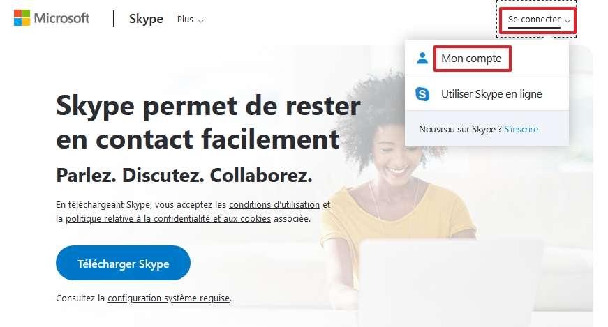 Allez sur la page d'accueil de Skype pour vous identifier. © Microsoft