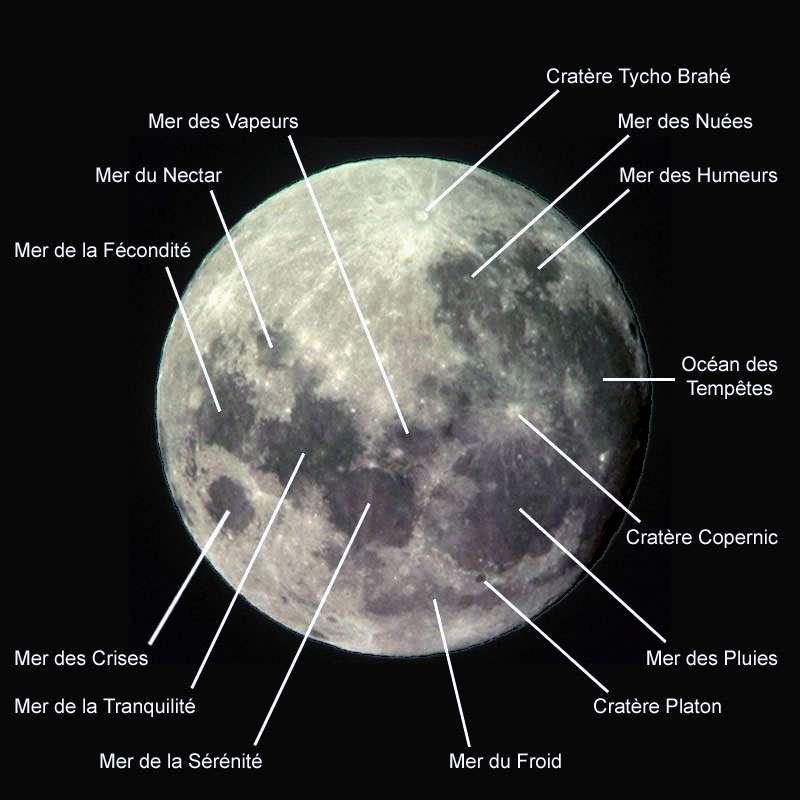 Une carte des mers lunaires. © Wikipédia GNU Free Document Licence