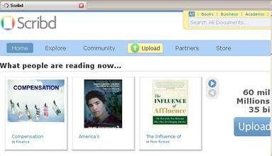 (Cliquer pour agrandir.) Le site Internet de référencement d'œuvres littéraires numériques libres Scribd. (cc) Scribd