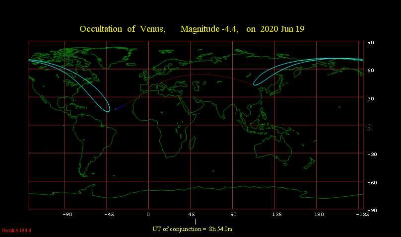 Pour les régions traversées par les pointillés, l'occultation de Vénus par la Lune sera en plein jour. Une partie de l'Amérique du Nord pourra observer le phénomène. © Occult program of Iota