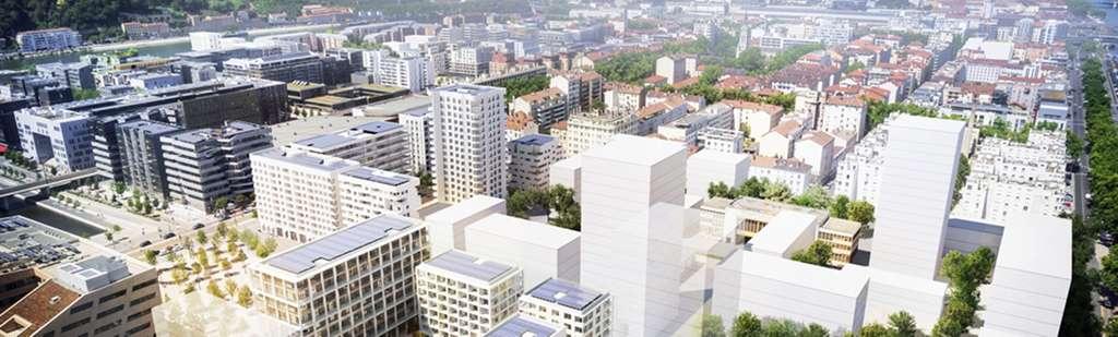 Le projet d'autoconsommation collective développé à Lyon inclut une centaine de logements, une résidence étudiante, des bureaux, des commerces et une crèche. © EDF