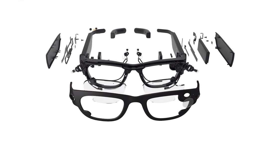 Puces Bluetooth, Wi-Fi et GPS, capteur photo-vidéo, mémoire vive, processeur, batterie... Les lunettes Facebook seront un condensé de technologie. © Facebook