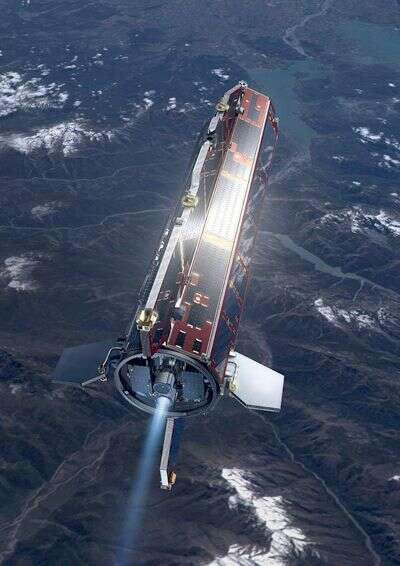 GOCE en orbite (vue d'artiste). Crédit Esa
