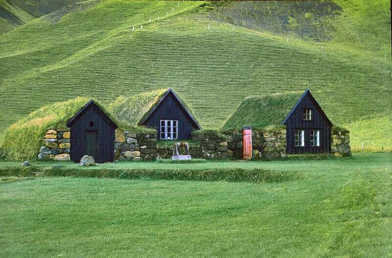 Maisons avec toitures végétales, en Islande