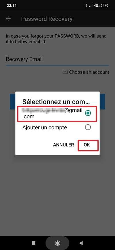 Renseignez l'adresse électronique sur laquelle est envoyée la demande de réinitialisation. © FishingNet