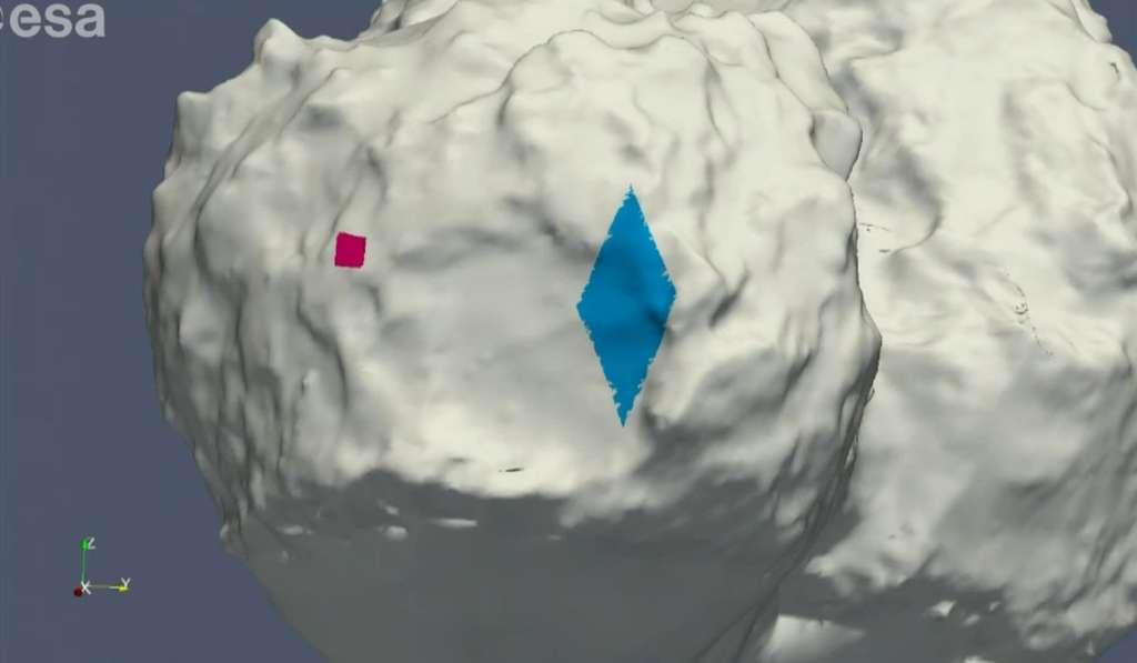 En rouge, le site visé. En bleu, la zone où Philae a terminé ses pérégrinations. Entre les deux, plus d'un kilomètre. Les ingénieurs et les scientifiques avaient passé beaucoup de temps à déterminer le meilleur site, qui fut baptisé Agilkia, mais Philae en a décidé autrement... © Esa
