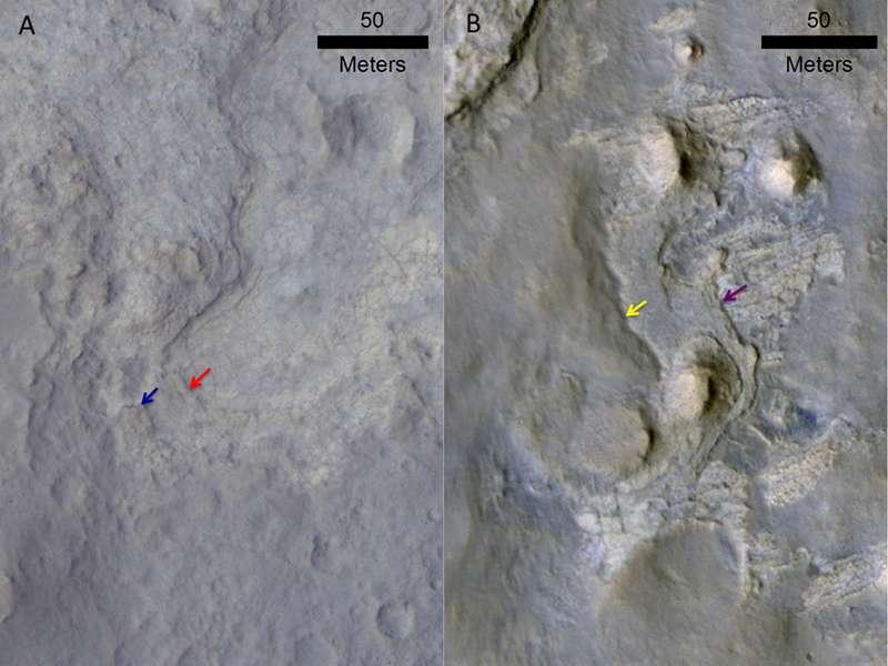 Deux images mettant en évidence les effets de l'érosion dans le cratère Gale. Celle de gauche, prise par la caméra HiRise de MRO, montre la région Yellowknife. Les deux flèches indiquent des escarpements situés à la frontière entre deux zones de duretés différentes, où l'érosion éolienne a creusé la plus meuble. À droite, la région KMS-9 que Curiosity atteindra bientôt. Les flèches indiquent des escarpements probables. © Nasa, JPL-Caltech, MSSS