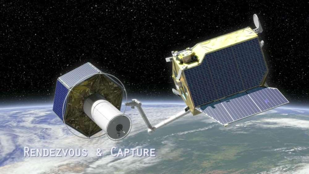 Concept exploratoire d'un système opérationnel de désorbitation de gros débris, typiquement des étages de lanceur ou encore des satellites en perdition ou en fin de vie. © Astrium