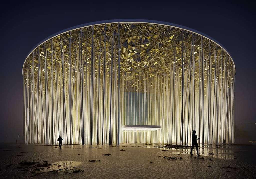 Le Wuxi Taihu Show Theatre symbolise une forêt de bambous. © Steven Chilton Architects, Facebook