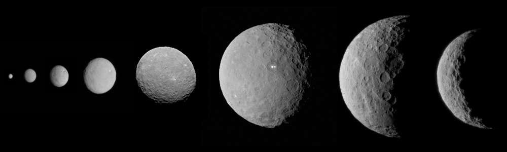 Photomontage de Cérès observée progressivement par Dawn, avant son arrivée. La première image à gauche nous dévoile la planète naine le 1er décembre 2014 lors de la calibration de la caméra. La dernière, à droite, a été réalisée le 1er mars 2015. © Nasa, JPL, Ucla, MPS, DLR, Ida et Emily Lakdawalla (photomontage)