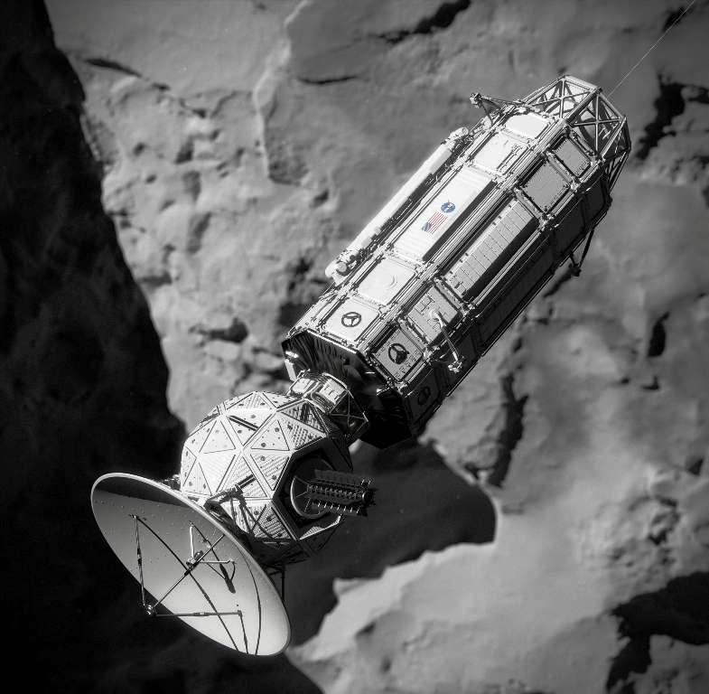Voilà à quoi ressemblerait un jour une mission inspirée du projet Comet Hitchhiker en cours d'amarrage à une comète. © NASA/JPL-Caltech/Cornelius Dammrich