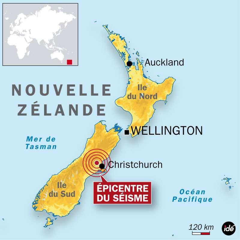 Le séisme s'est produit dans l'île du Sud, à faible profondeur (5 km) et près de Christchurch. © Idé