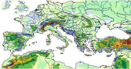 Carte de karst Europe de moyennes latitudes. En bleu, les régions fortement karstiques, en vert, les régions à phénomènes karstiques locaux.