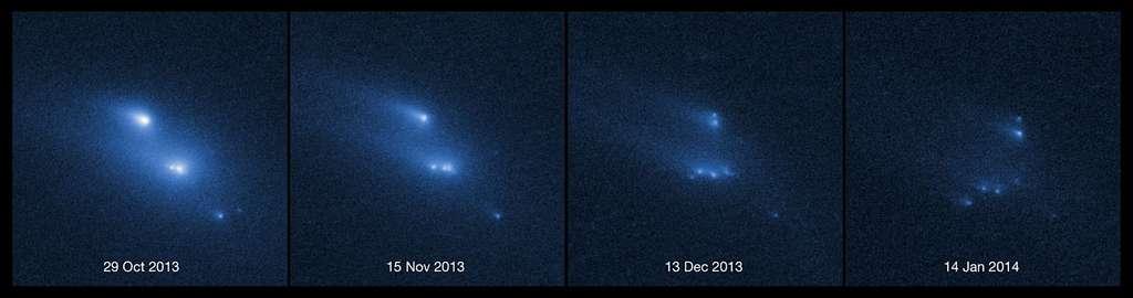 Au fil des semaines, l'astéroïde P/2013 R3 apparaît de plus en plus fragmenté. Les images capturées par la caméra grand champ WFC3 du télescope spatial Hubble montrent dix morceaux essaimant de longues traînées de poussières. Les quatre plus grands mesurent environ 180 m de diamètre. © Nasa, Esa, D. Jewitt (UCLA)