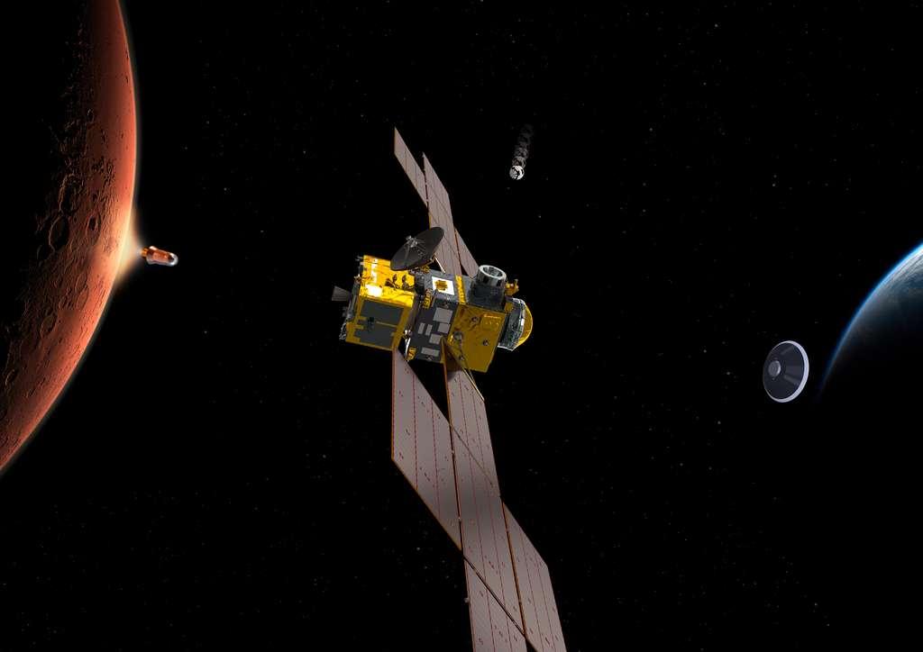 La partie orbitale de la mission de retour d'échantillons martiens de la Nasa et de l'ESA résumée en une image. De gauche à droite, l'étage de remontée avec les échantillons, le satellite ERO avec le module OIM, le petit conteneur à récupérer en orbite martienne et la capsule de retour sur Terre avec, à son bord, le conteneur qui abrite les échantillons martiens. © ESA, ATG-Medialab