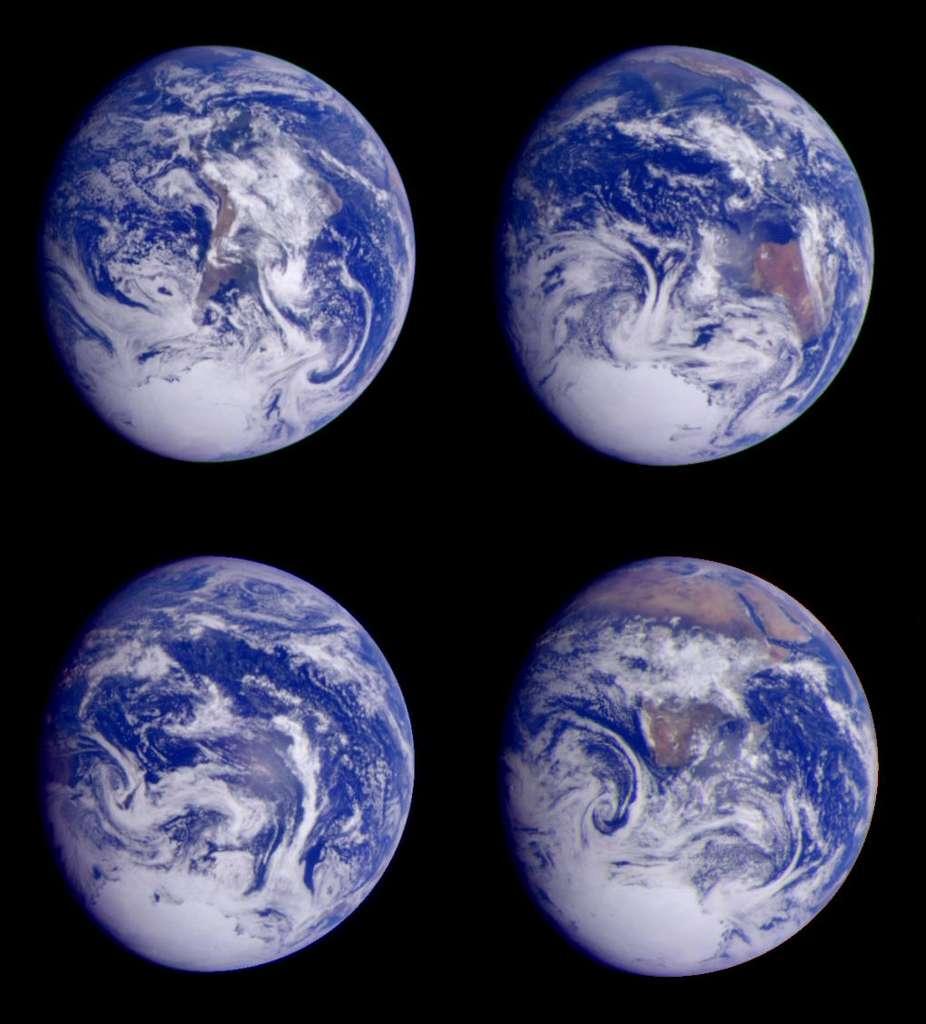 Quatre images de la Terre prises le 11 décembre 1990 par la sonde Galileo, en route vers Jupiter. © Nasa/JPL