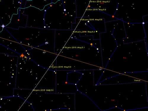 Position de la comète Lovejoy du 9 janvier au 8 février 2015