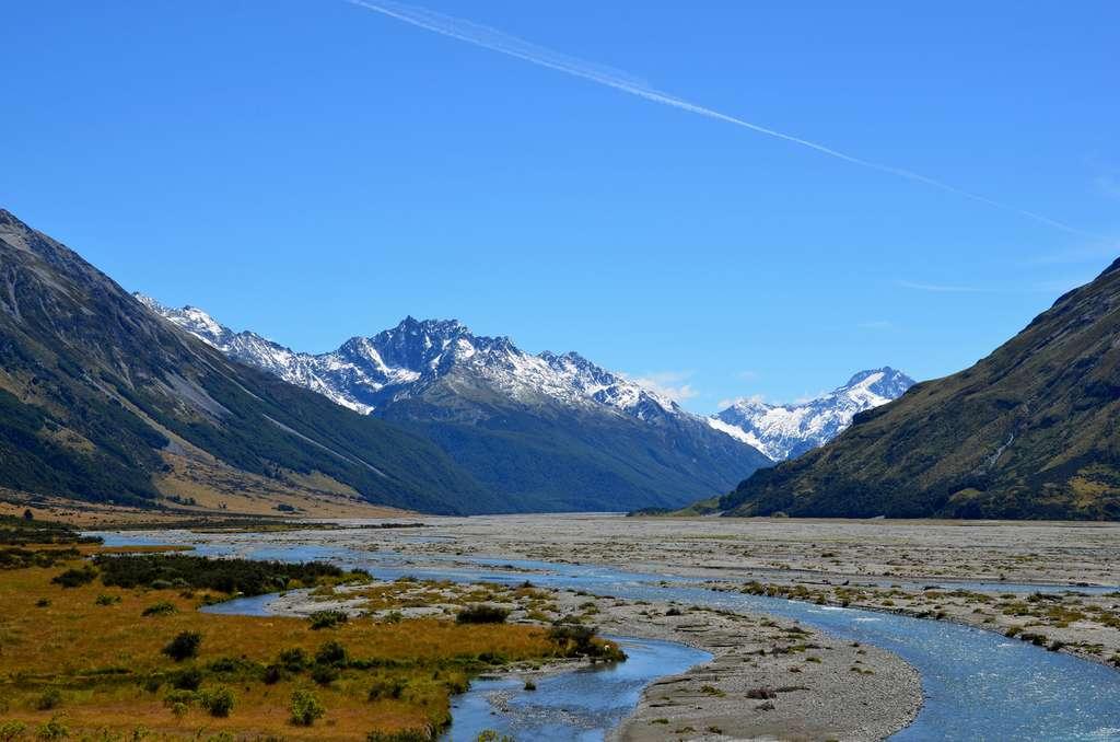 Une vue de Hopkins Valley, au sein du Mount Cook National Park, sur l'île du Sud, en Nouvelle-Zélande. © Loïc Petit