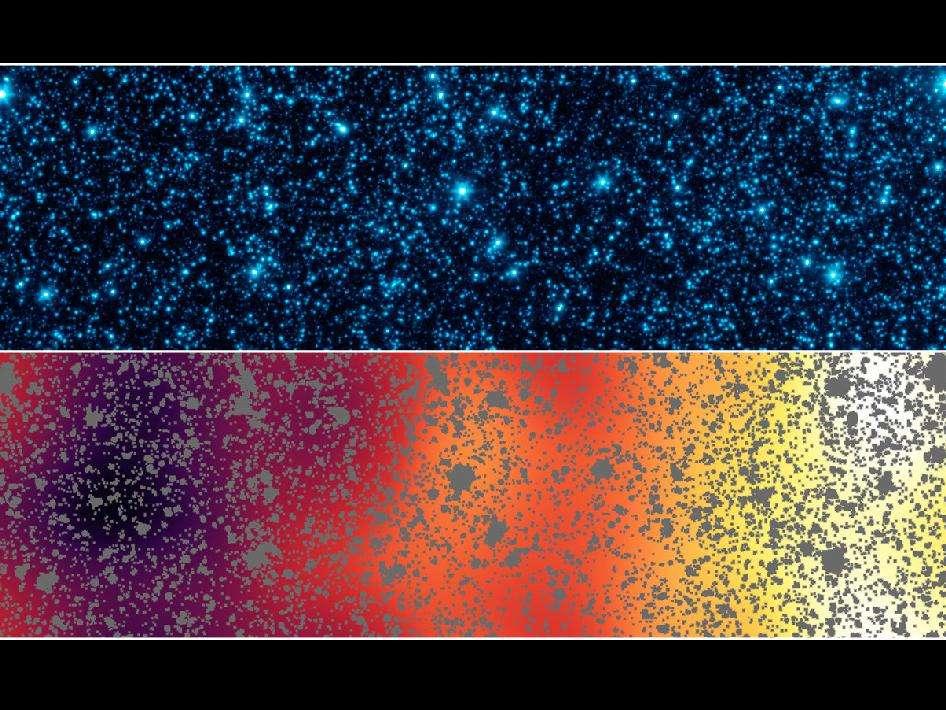 En haut, l'image prise par Spitzer montrant une partie de l'Extended Groth Strip. En bas, après soustraction des étoiles et des galaxies, apparaît clairement le CIB. © Nasa/Jpl-Caltech/GSFC