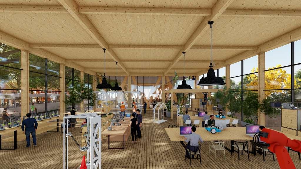Un espace de coworking est à disposition des habitants pour y fabriquer n'importe quel objet en 3D. © Guallart architects
