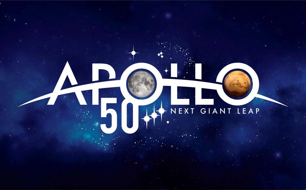 Logo de la Nasa pour le cinquantiéme anniversaire d'Apollo 11. « Next giant leap », « prochain bond de géant » : Mars. © Nasa
