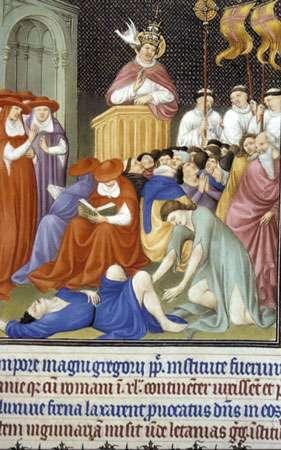 Procession de Grégoire, XIVè, Belles Heures du Duc de Berry 1410