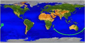 La trajectoire du satellite UARS après son entrée dans l'atmosphère, au-dessus de l'océan Indien, près de Madagascar. Le satellite en perdition a poursuivi sa course vers le Pacifique sud, tout en se consumant. Les derniers débris devraient avoir atteint l'archipel des Samoa, à gauche sur cette image. © Nasa